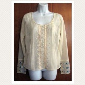 Vtg 70s Semi Sheer Peasant Blouse w Embroidery S